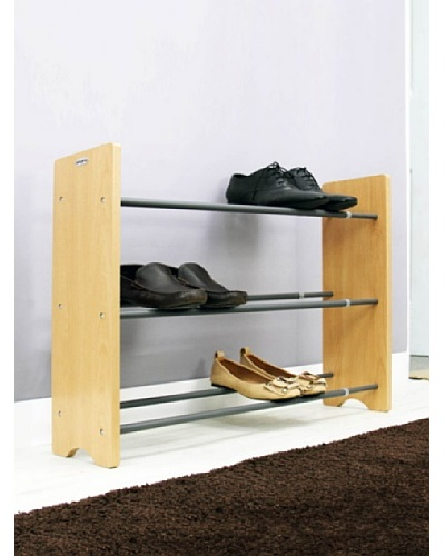 Samsonite 3-Tier Expandable Shoe Rack with Natural Wood EndAs You See