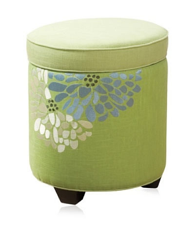 Sandy Wilson Fresca Embroidered Storage Ottoman, Seamist Green
