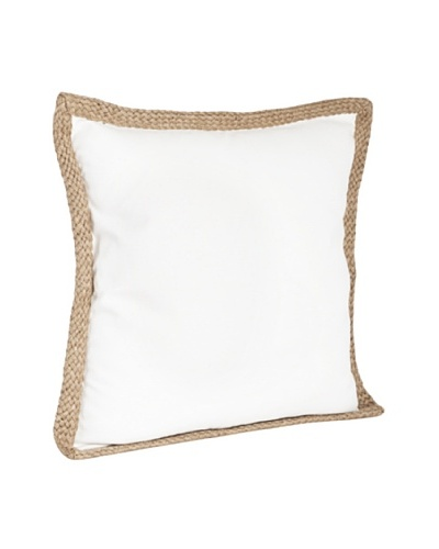 Saro Lifestyle Ivory Solid Jute-Braided Pillow