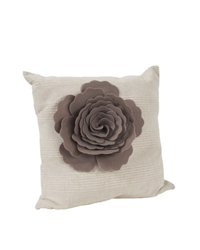 Saro Lifestyle Taupe Flower Design Pillow