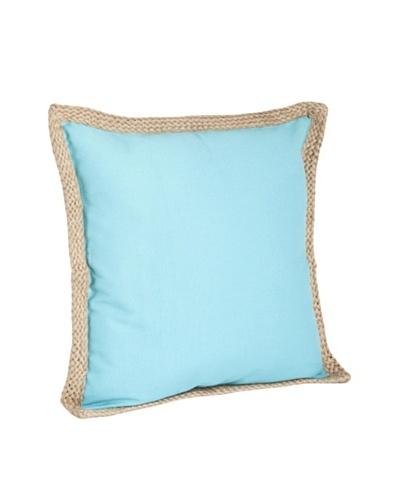 Saro Lifestyle Turquoise Solid Jute-Braided Pillows
