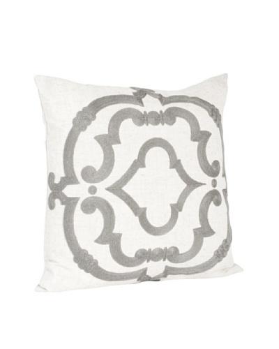 Saro Lifestyle Grey Embroidered Design Pillow