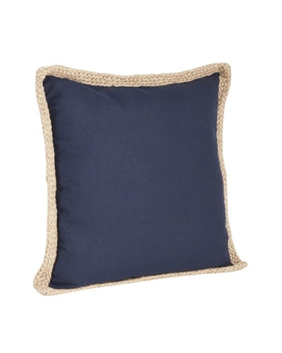 Saro Lifestyle Navy Blue Solid Jute-Braided Pillows