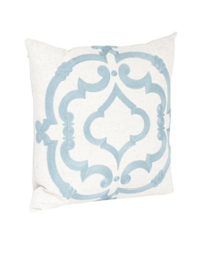 Saro Lifestyle Sea Green Embroidered Design Pillow