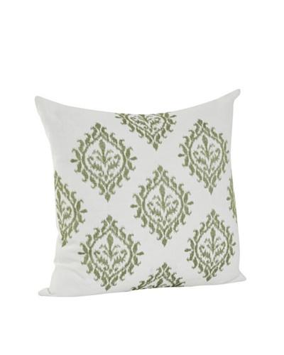 Saro Lifestyle Lime Embroidered Design Pillow