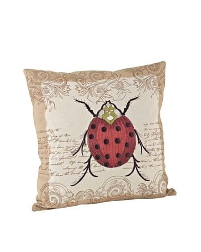 Saro Lifestyle Natural Ladybug Square Pillow