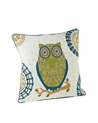 Saro Lifestyle Chartreuse Owl Square Pillow