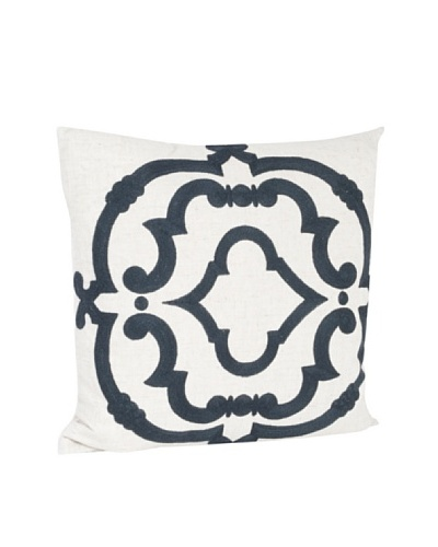 Saro Lifestyle Navy Blue Embroidered Design Pillow