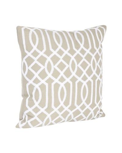 Saro Lifestyle Khaki Embroidered Design Pillow