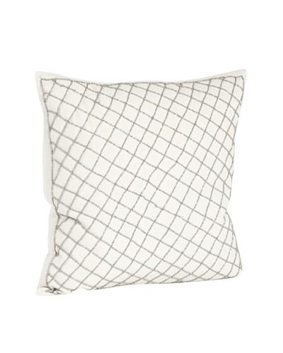 Saro Lifestyle Pewter Diamond Design Beaded Pillow