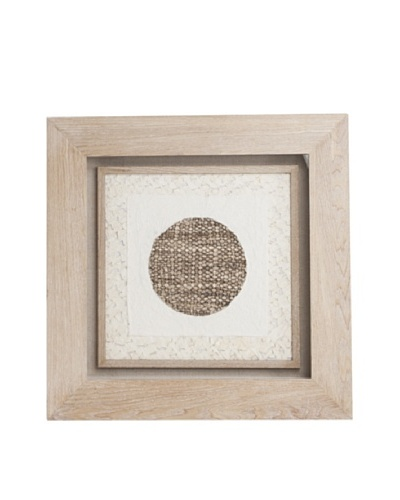 Saro Lifestyle Natural Framed Dark Circle Paper Art