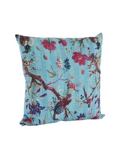 Saro Lifestyle Turquoise Printed Pillow with Kantha Stitches
