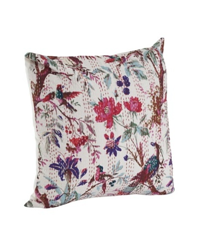 Saro Lifestyle Ivory Printed Pillow with Kantha Stitches