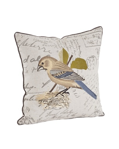 Saro Lifestyle Bird Embroidered & Printed Pillow