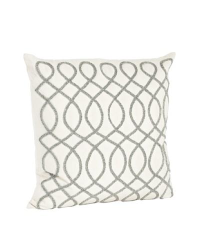 Saro Lifestyle Pewter Swirl Design Beaded Pillow
