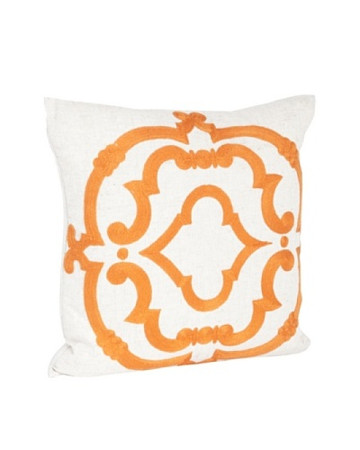 Saro Lifestyle Persimmon Embroidered Design Pillow