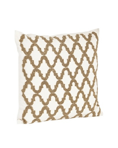 Saro Lifestyle Bronze Beaded Design Pillow