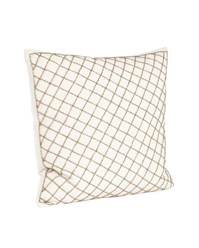 Saro Lifestyle Bronze Diamond Design Beaded Pillow