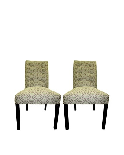 Sole Designs Kacey 6 Button Tufted Pair of Dining Chairs, Bonjour Amethyst
