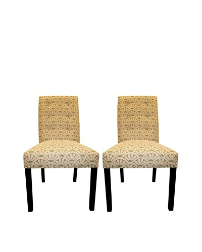 Sole Designs Kacey 6 Button Tufted Pair of Dining Chairs, Bonjour Blush