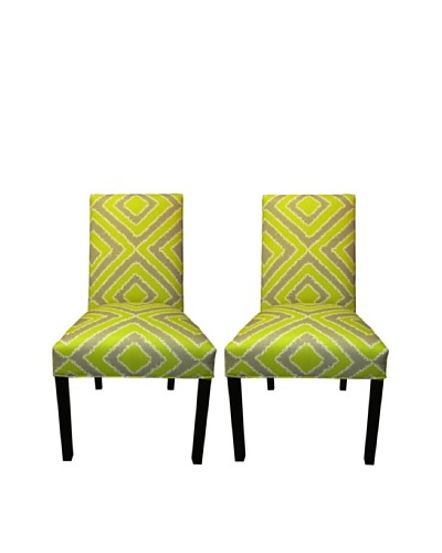 Sole Designs Straight Back Pair of Dining Chairs, Nouveau Wassabi