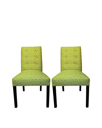 Sole Designs Kacey 6 Button Tufted Pair of Dining Chairs, Bonjour Wassabi