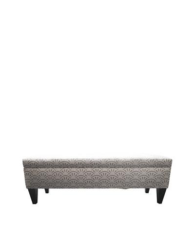 Sole Designs Brooke 10 Button Tufted Storage Bench, Bonjour Platinum