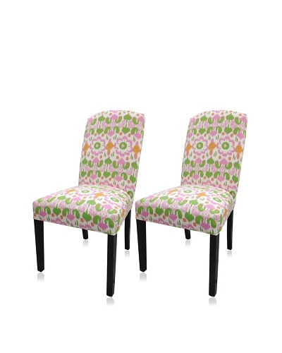 Sole Designs Set of 2 Daisy Flora Camelback Chairs, Pink/Green/White