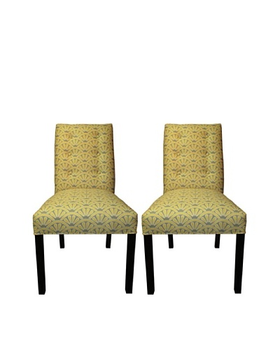 Sole Designs Kacey 6 Button Tufted Pair of Dining Chairs, Bonjour Dijon