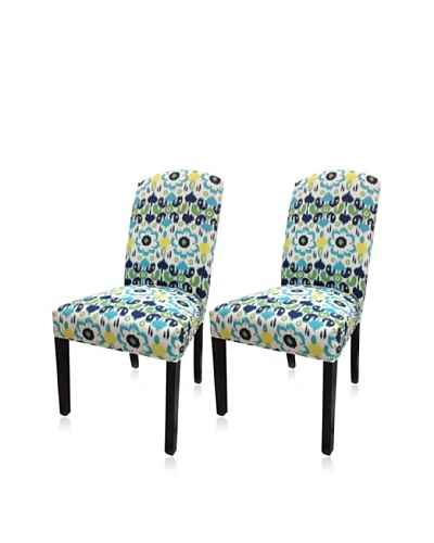 Sole Designs Set of 2 Flora Camelback Chairs, Blue/Yellow
