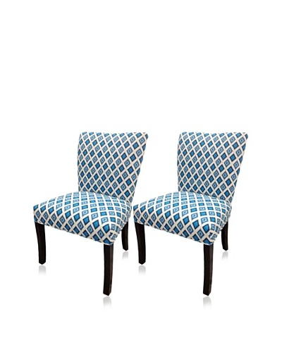 Sole Designs Set of 2 Nile Fanback Chairs, Dia Blue