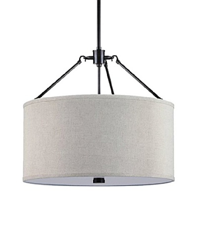 Sea Gull Lighting Brayden 3-Light Linen Shade Pendant, Burnt Sienna/Beige