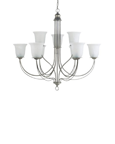 Sea Gull Lighting Fluorescent Plymouth 9-Light Chandelier, Weathered Pewter
