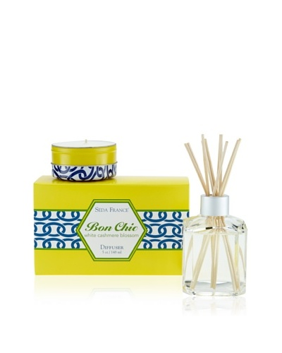 Seda France White Cashmere Blossom Bon Chic Travel Tin and Diffuser Set