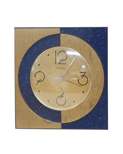 Seiko Vintage Alarm Clock, Blue/Gold