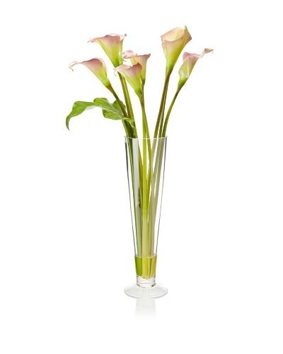 Winward Faux Calla in Flute Vase, Mauve, Mauve