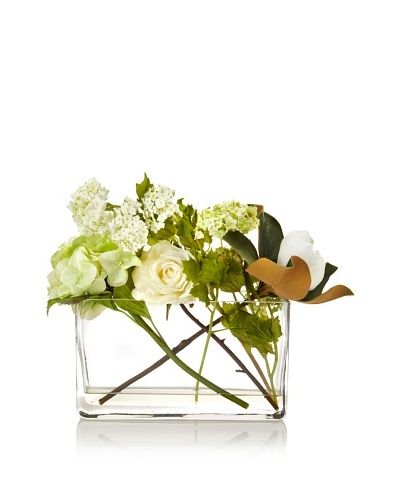 Winward Faux Floral Mix in Planter Vase, Green/White