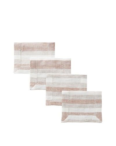Sferra Set of 4 Ascot Cocktail Napkins, Hazelnut