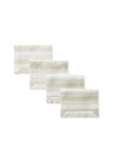 Sferra Set of 4 Ascot Cocktail Napkins, Olive