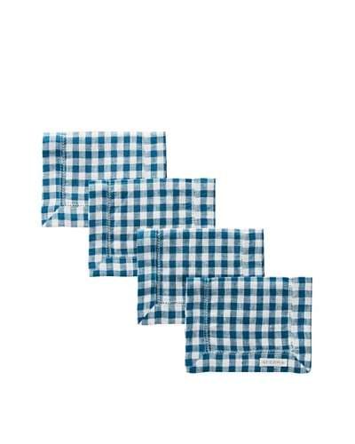 Sferra Set of 4 Piccadilly Cocktail Napkins, Peacock