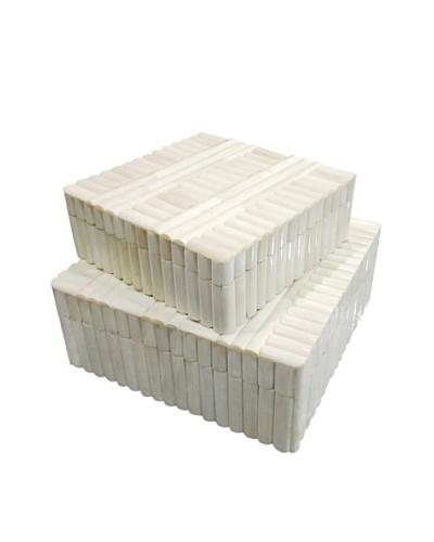 Shine Creations Set of 2 Bone Boxes, White