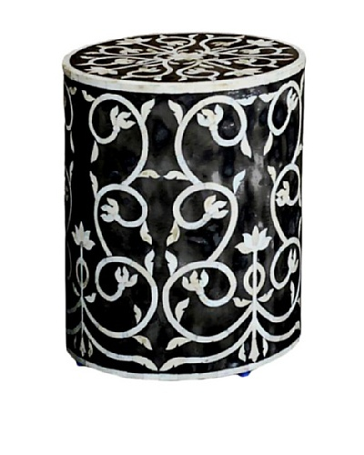 Shine Creations Round Stool, Black/White