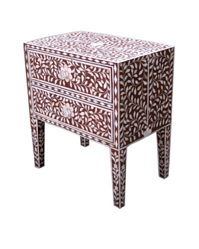 Shine Creations Bedside Table, Burgundy/White
