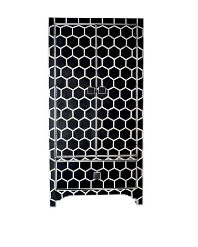 Shine Creations Bone Inlay Cabinet, Black/White