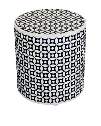 Shine Creations Round Stool, White/Black