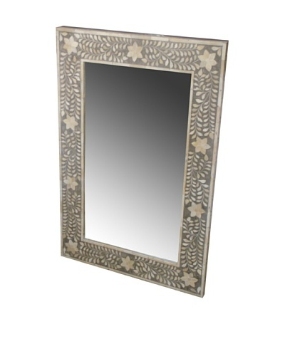 Shine Creations International Mirror with Grey and Ivory Bone Inlay Frame