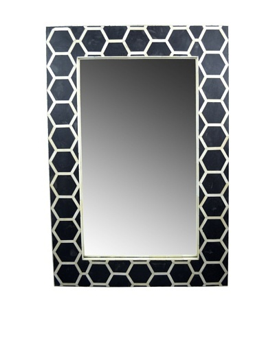 Shine Creations International Honeycomb Mirror with Black and Bone Inlay Frame