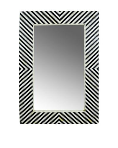 Shine Creations International Zig Zag Mirror with Black and Bone Inlay Frame