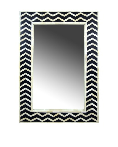 Shine Creations International Mirror with Black and Bone Inlay Frame