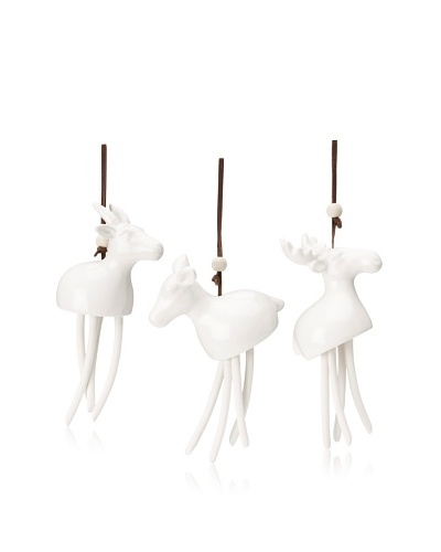 Shiraleah Set of 3 Assorted Christmas Ornaments, White